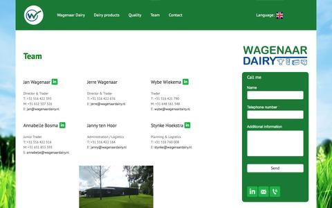Screenshot of Team Page wagenaardairy.com - Ons team - captured June 27, 2016