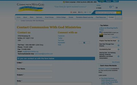 Screenshot of Contact Page cwgministries.org - Contact Communion With God Ministries - captured Jan. 29, 2016
