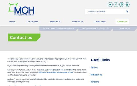 Screenshot of Contact Page medwaycommunityhealthcare.nhs.uk - Contact us :: Medway Community Healthcare - captured Dec. 9, 2018