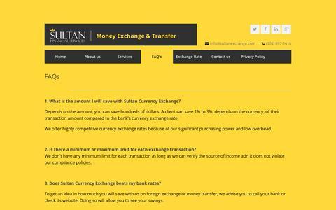 Screenshot of FAQ Page sultanexchange.com - Sultan Exchange - FAQs - captured Oct. 18, 2018