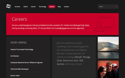 Screenshot of Jobs Page tag-games.com - Careers | Careers Tag Games - captured Oct. 7, 2014