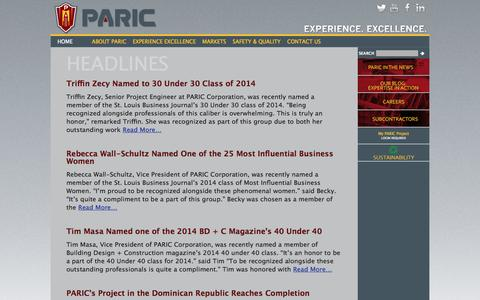 Screenshot of Press Page paric.com - Headlines Archives - PARIC - captured Oct. 1, 2014