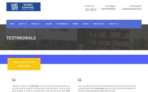 Screenshot of Testimonials Page wishempire.com - Testimonials | Wish Empire - captured Jan. 17, 2016