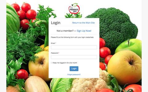 Screenshot of Login Page theproducebox.com - The Produce Box - Login - captured Dec. 7, 2019