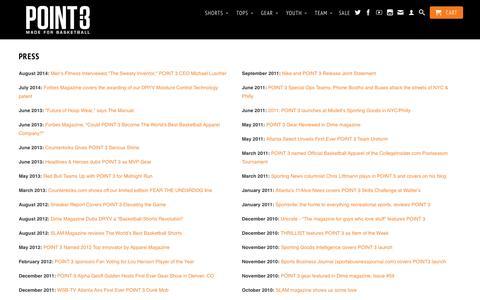 Screenshot of Press Page point3basketball.com - Press   POINT 3 Basketball - captured Oct. 28, 2014