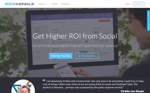 Screenshot of Home Page sociamonials.com - Sociamonials | Best Social Media Campaigns - captured Sept. 20, 2018