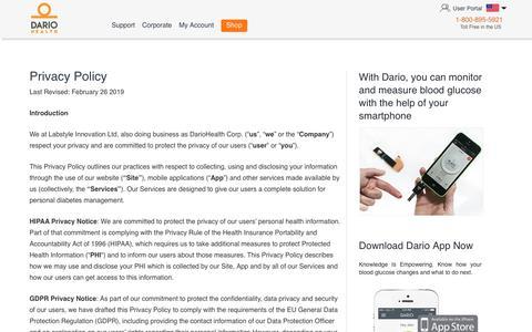 Screenshot of Privacy Page mydario.com - Privacy Policy - myDario.com - captured July 24, 2019