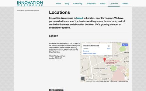 Screenshot of Locations Page innovationwarehouse.org - All Innovation Warehouse locations - London and Portsmouth - captured Sept. 25, 2014
