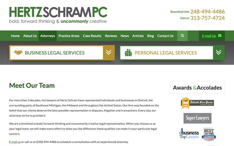 Screenshot of Team Page hertzschram.com - Hertz Schram, PC | Detroit Michigan Law Firm - captured Sept. 28, 2018