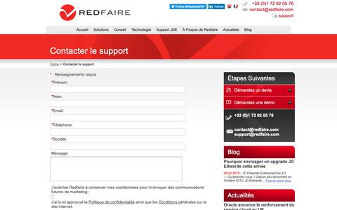 Screenshot of Support Page redfaire.fr - Redfaire : Contacter le support - captured Oct. 22, 2018
