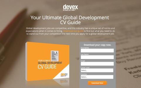 Screenshot of Landing Page devex.com - Your Ultimate Global Development CV Guide - captured June 30, 2016