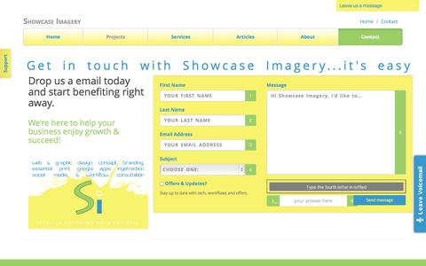 Screenshot of Contact Page showcaseimagery.com - Email Showcase Imagery with your enquiry - captured Oct. 9, 2014
