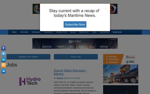 Screenshot of Jobs Page maritime-executive.com - Jobs - The Maritime Executive - captured Oct. 19, 2018