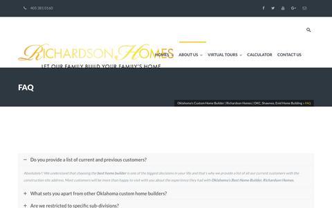 Screenshot of FAQ Page richardsonhomesok.com - FAQ - Oklahoma's Custom Home Builder   Richardson Homes   OKC, Shawnee, Enid Home Building - captured Nov. 30, 2016