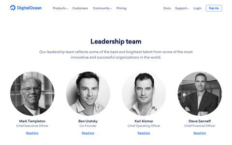 Screenshot of Team Page digitalocean.com - Leadership at DigitalOcean - captured Nov. 14, 2018