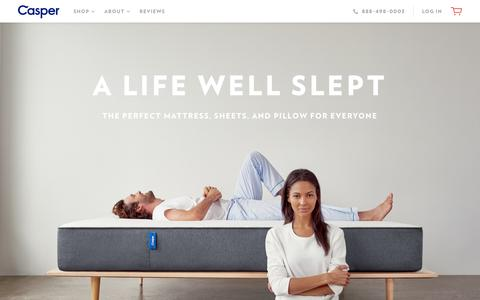 Screenshot of Home Page casper.com - The Best Bed for Better Sleep  | Casper® - captured Feb. 12, 2016
