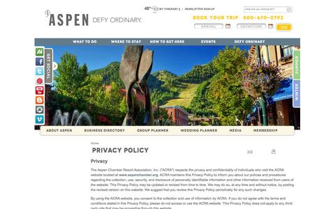 Screenshot of Privacy Page aspenchamber.org - Aspen Chamber Resort Assoc. - Contacts - Locations - Visitor Center - Official Travel Resource - captured Sept. 23, 2014