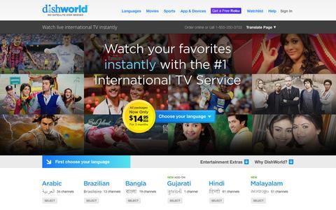 Screenshot of Home Page dishworld.com - DishWorld - Watch Live International TV Instantly - captured Sept. 24, 2014