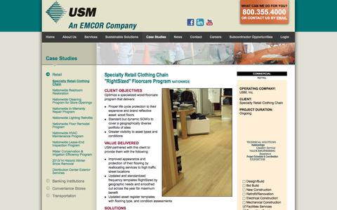 Screenshot of Case Studies Page usmservices.com - Commercial Janitorial Services & Property Management Services | USM - captured Feb. 26, 2016