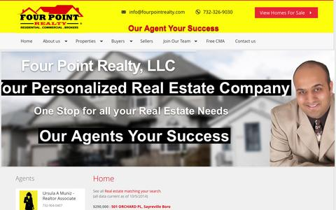 Screenshot of Home Page fourpointrealty.com - Four Point Realty, LLC - Residentail Commercial Brokers - captured Oct. 6, 2014