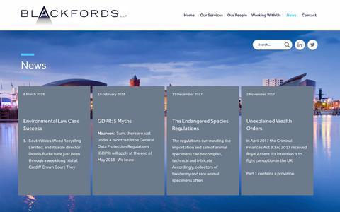 Screenshot of Press Page blackfords.com - News | Blackfords LLP - captured Oct. 6, 2018