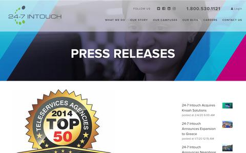 Screenshot of Blog 24-7intouch.com - 24-7 Intouch Ranked 2nd Interactive Contact Center by CUSTOMER Magazine - captured Feb. 20, 2020