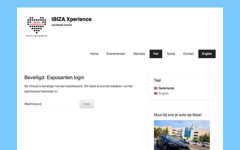 Screenshot of Login Page ibizaxperience.eu - Exposanten login - IBIZA Xperience - captured Oct. 22, 2018