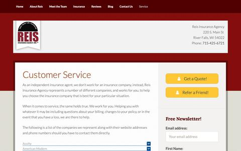 Screenshot of Support Page reisagency.com - Customer Service - River Falls WI Insurance - Reis Insurance Agency - captured Oct. 18, 2018