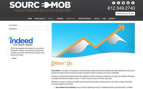 Screenshot of About Page sourcemob.com - About Us      SourceMobSourceMob - captured Oct. 9, 2014