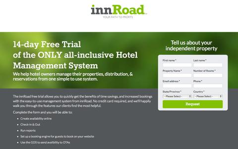 Screenshot of Trial Page innroad.com - Hotel Management System Free Trial - captured Oct. 28, 2014