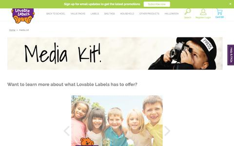 Screenshot of Press Page lovablelabels.ca - media_kit | Lovable Labels - captured Sept. 24, 2018
