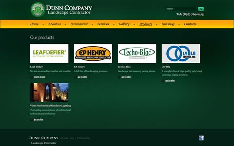 Screenshot of Products Page dunnlandscaping.com - Dunn Landscaping - Products - captured Oct. 5, 2014