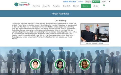 Screenshot of About Page rapidvisa.com - About RapidVisa® - captured June 19, 2017