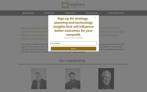Screenshot of About Page orgstory.org - OrgStory Leadership - captured Nov. 2, 2017