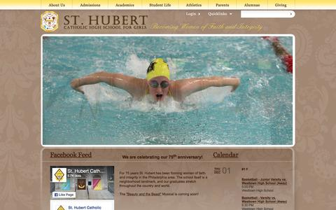 Screenshot of Home Page huberts.org - Saint Hubert Catholic High School for Girls - captured Dec. 1, 2016