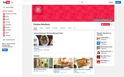 Screenshot of YouTube Page youtube.com - Cuisine Solutions  - YouTube - captured Oct. 23, 2014