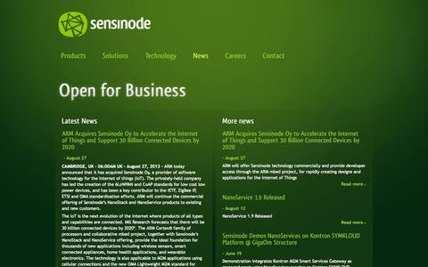 Screenshot of Press Page sensinode.com - News - Sensinode Ltd - captured Sept. 17, 2014