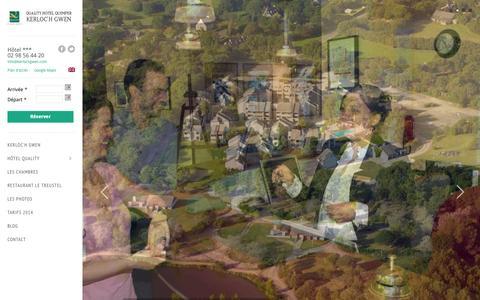Screenshot of Home Page kerlochgwen.com - Hôtel Quality Kerloc'h Gwen Quimper - hôtel en Finistère, Bretagne, FranceQuality Hotel Kerloch Gwen Quimper | Hotel Restaurant *** à Combrit Ste Marine, entre Quimper, Bénodet et Pont l'Abbé sur la côte du Finistère Sud. - captured Sept. 30, 2014