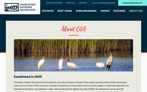 Screenshot of About Page charlestonoutdooradventures.com - About COA - Charleston Outdoor Adventures - captured June 21, 2017