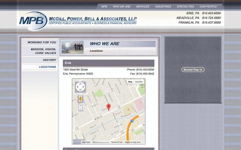 Screenshot of Locations Page mpbcpa.com - Locations - McGill, Power, Bell & Associates McGill, Power, Bell & Associates - captured Oct. 27, 2014