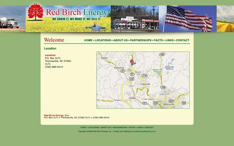 Screenshot of Locations Page redbirchenergy.com - Red Birch Energy - captured Sept. 20, 2018