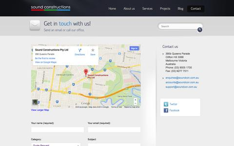Screenshot of Contact Page soundcon.com.au - Contact   Sound Constructions - captured Oct. 7, 2014