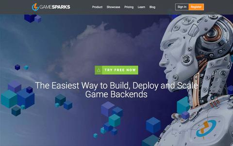 Screenshot of Home Page gamesparks.com captured July 13, 2019