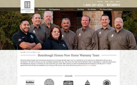 Screenshot of Team Page betenbough.com - New Home Warranty Team | Betenbough Homes - captured Oct. 5, 2014