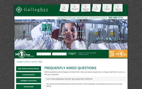 Screenshot of FAQ Page gallagheruniform.com - Uniform rental program frequently asked questions (FAQs) - captured July 15, 2018