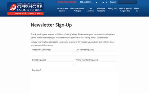 Screenshot of Signup Page offshoresailing.com - Sailing Newsletter Sign-Up | Offshore Sailing School - captured April 13, 2018