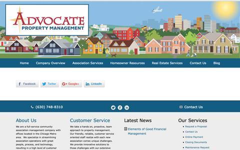 Screenshot of Support Page advocatepropertymanagement.com - Association Services - Advocate PM - captured Oct. 3, 2018