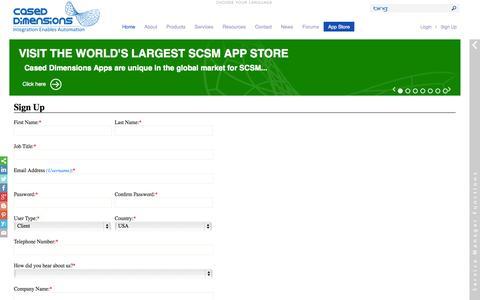Screenshot of Signup Page caseddimensions.com - Registration - captured Oct. 28, 2014