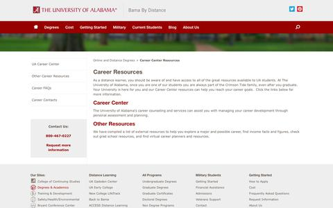 Screenshot of Jobs Page ua.edu - Career Center Resources - Bama By Distance - captured May 9, 2018