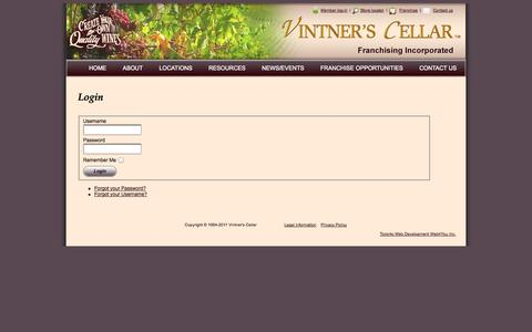 Screenshot of Login Page vintnerscellar.ca - Login - captured Oct. 7, 2014